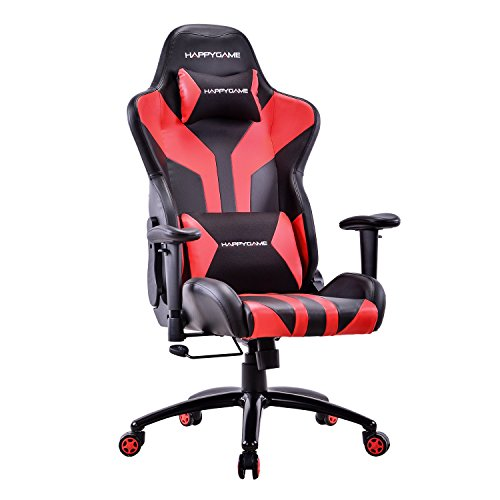 41riE6YXltL - HAPPYGAME-Racing-Style-Gaming-Chair-Adjustable-Tilt-Swivel-and-2-D-Arms-Ergonomic-High-back-Leather-Executive-Computer-Office-Chair-with-Lumbar-Support-and-Headrest-BlackRed