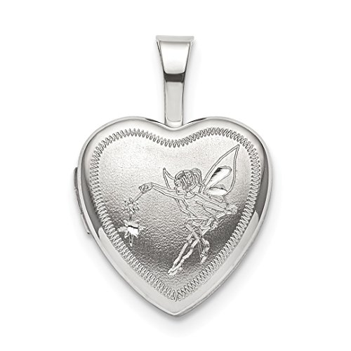 925 Sterling Silver 12mm Fairy Heart Photo Pendant Charm Locket Chain Necklace That Holds Pictures Fine Jewelry For Women Gift Set ()