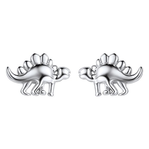 Creative Silver Stud Earrings 925 Sterling Silver Cute Dinosaur Earrings for ()