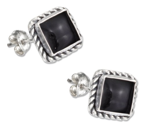 Sterling Silver Square Roped Edge Onyx Post Earrings