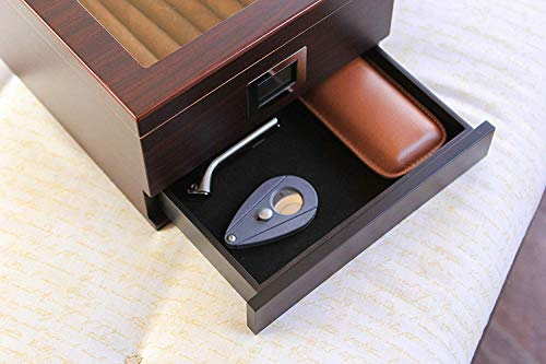 Umidificatore per sigari in legno di cedro lavorato a mano con coperchio in vetro e igrometro anteriore digitale e… 7 spesavip