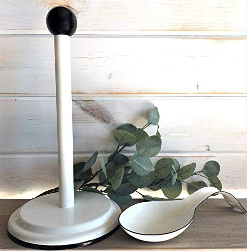 Farmhouse White Enamel Spoon Rest and Paper Towel Holder with Black Trim - Enameled Spoon Rest