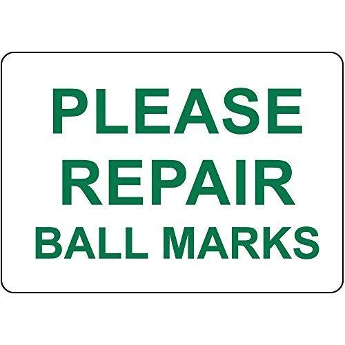 Joeaney New Tin Sign Aluminum Retro Please Repair Ball Marks Sign 8 X 12 Inch ()