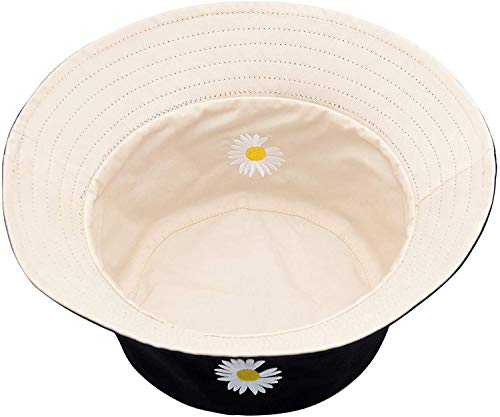 LEIDAI Unisex Daisy Print Double-Side-Wear Reversible Bucket Hat… (Daisy, Cotton)