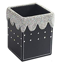 Square Crystal Pencil Pen Pot Holder With Rhinestones