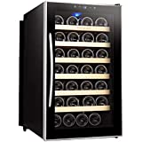 Wine Cooler Wine Fridge Wine Refrigerator Cooler Semiconductor Chip Microcomputer Control Simulation Wine Cellar System Constant Temperature And Humidity Storage SC-28AJPM Stainless Steel Freestanding