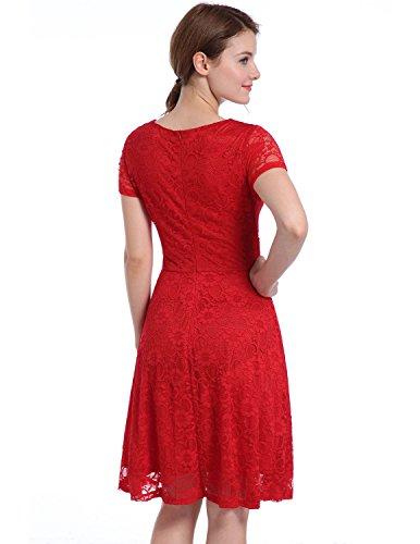 MODETREND Mujer Vestido Elegante Manga Corta de Encaje Floral Crochet Coctel Partido Vestido de Noche Bodas y Novia Rojo