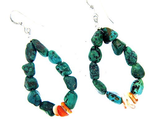 By Navajo Sandra Francisco.Strung earrings with green Turquoise nuggets and Spiney (Turquoise Spiney Oyster)