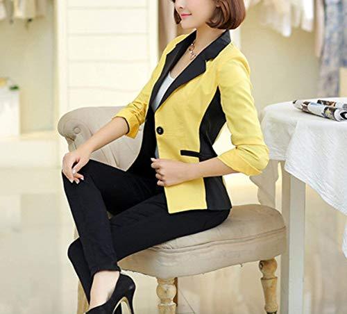 Camicia Misti Offlce Giubotto Button Manica Outwear Fit Autunno Casual Slim QK Blazer Confortevole Lannister Gelb Lunga Bavero Donna Colori Ragazza qwanX0t
