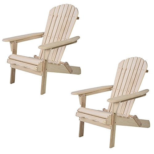 Adirondack Lounge Chair Set (Walcut (Set Of 2 ) Patio Lawn Deck Adirondack Wood Chair Non Foldable)