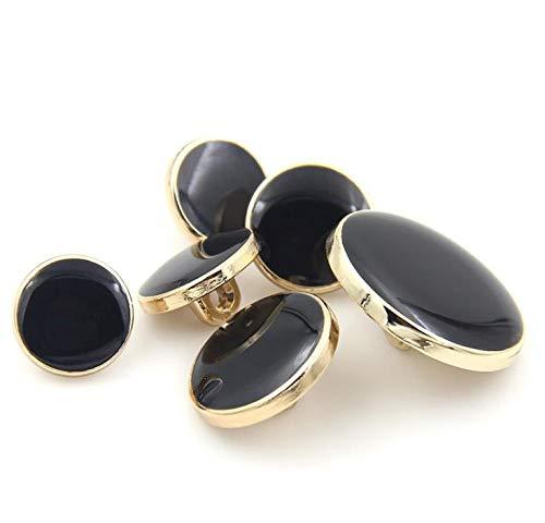 W-BOXINS Juego de 11 Piezas de Botones de Metal Antiguo para Blazer Trajes Chaqueta Abrigo Chamarra Deportiva Disfraz Black+Gold Uniforme