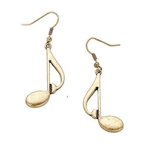 Vintage Look Distressed Gold-Tone Music Note Dangle Drop Earrings 2