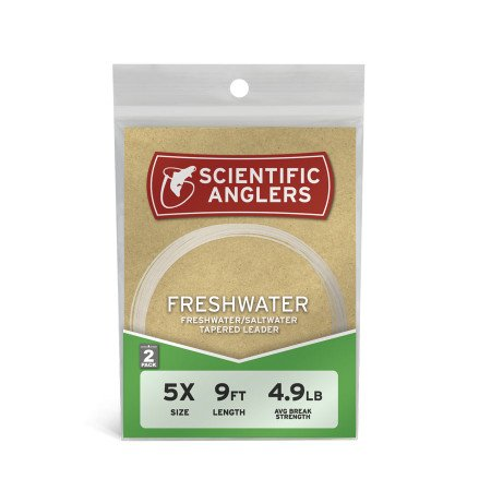 Scientific Anglers Freshwater Nylon Tapered Leader - 2-Pack Clear, 9ft - (Fly Fishing Tapered Leader)