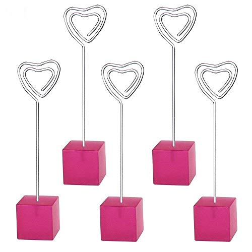 - Yootop Pink Cube Resin Base Heart Shape Table Note Holder Memo Clip 5 Pcs