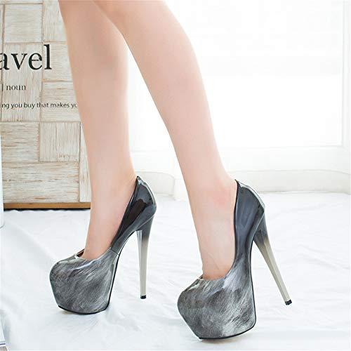 Escarpins Rond Qzx Talons brown Hauts Shoes eu37 uk5 Aiguille 16 Plateformes Talon Chaussures Cm Bout Femmes Fermé P1wrEq1