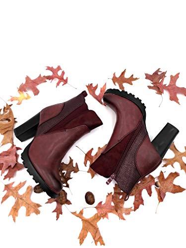 De Bottine Chaussure Fourrée Haut Intérieur Bloc Femme Mode Plateforme Serpent 9 Angkorly Élastique Bi Cm matière Talon Bordeaux Peau Chelsea Boots E4vwnwHcqB