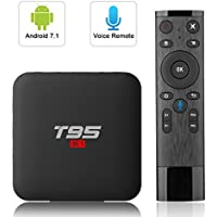 Android 7.1 TV Box with 2.4G Voice Remote, Tishow T95 S1 TV Box with 2GB RAM 16GB ROM, S905W Quad-core cortex-A53 WiFi Support H.265 4K Full HD