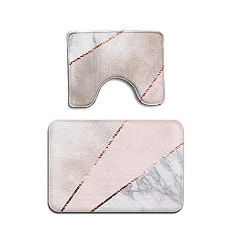 MAHENSHANGM Spliced Mixed Rose Gold Marble 2 Piece Bathroom Mat Set Pedestal Rug Bath Mat Rug Non Slip Doormat