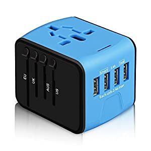International Power Adapter, HAOZI All-in-one Universal Travel Adapter with 2.4A 4USB, Europe Multifunctional Power Adapter Wall Charger for UK, EU, AU, Asia Covers 150+Countries(Blue) Power Accessories