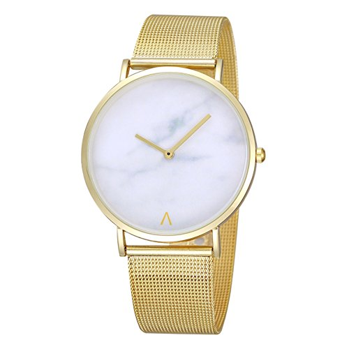 Etbotu Women Quartz Round Dial Scale Free Pointer Watch with Metal Case and Alloy Watchband