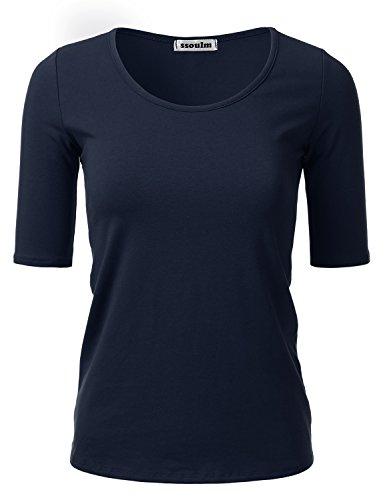 (SSOULM Women's 1/2 Sleeve Crewneck Cotton Basic Slim Fit T-Shirt Top Navy 3XL )