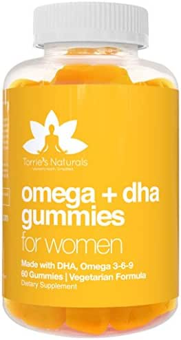 Vegetarian DHA & Omega Gummy Vitamins for Women by Torrie's Naturals, Packed with Vitamin C, Chia, and Omega 3 6 9, Supports Brain, Immune, and Prenatal Functions, Women 30 to 50 Plus, (60 Count)