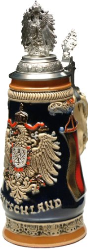 Beer Stein by King - German Monarchy Eagle Relief Beer Stein (Beer Mug) 0.5l Pewter Eagle CoA Lid by KING