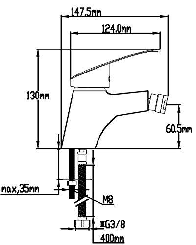 DP Bath SCER-0002''Sauce'' Bidet Mixer Tap - Chrome
