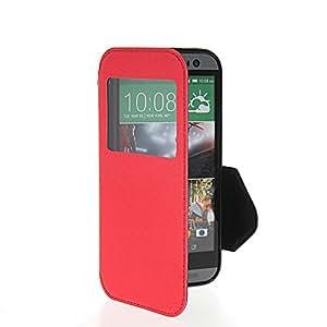 CHIHENG Carcasa Cuero Caso Tapa Funda Case para HTC One 2 M8 Rojo