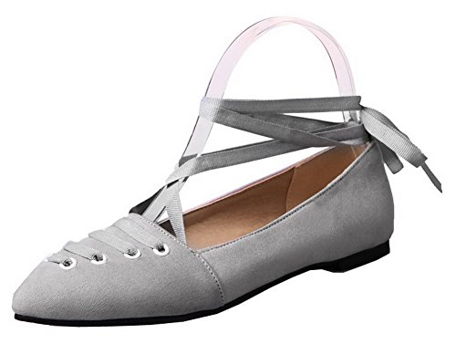 up Pumps Frosted Heels Shoes Women's Solid Lace Odomolor Gray Low qwUvt7T