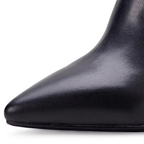black 35 Botas 5cm 6 las Plataforma de negras peludas 39 Corteza tacón impermeable 8034FD de alto BLACK Puntiagudo señoras Botas T0w0SqFa