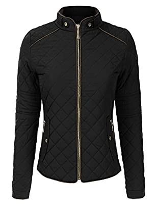 Doublju Lightweight Paddeed Quilted Zip-Up Jacket (Plus size available)