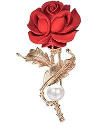 Rose Brooch Pin 18k GP Red Flower Decorative Garment Dress Jewelry Women Valentine's Gift