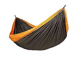 LA SIESTA Colibri Comfortable Ultra Light Parachute Silk Travel Hammock and Blanket with EasyAdjust Suspension, Orange, Double