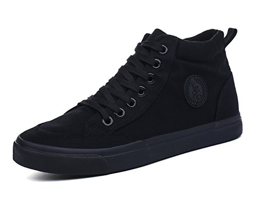 Aisun Mens Casual Round Toe High Top Sportive Lace Up Flat Sneakers Canvas Shoes Black 2