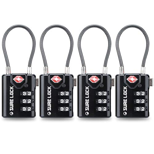 - TSA Compatible Travel Luggage Locks, Inspection Indicator, Easy Read Dials- 1, 2 & 4 Pack