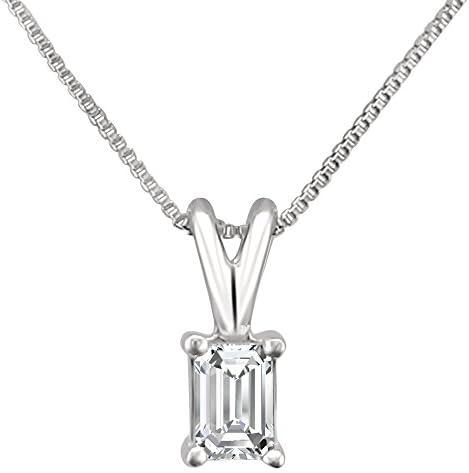 1/4 cttw, 14k White Gold Emerald-cut Diamond Solitaire Pendant Necklace (1/4 cttw, H-I, VS2-SI1)