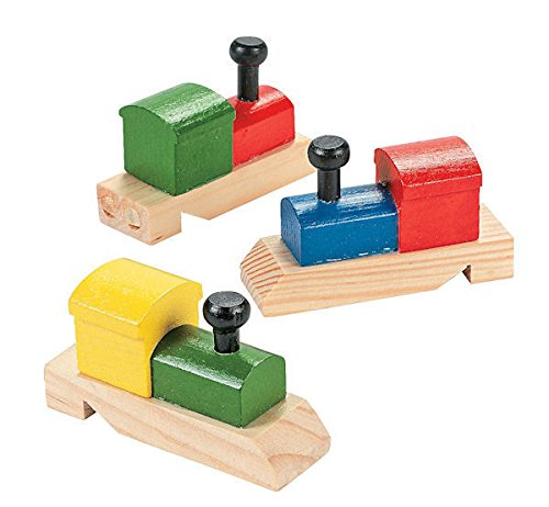 12 Painted Train-Shaped Wooden Whistles Conductors Birthday Party Favors