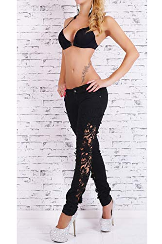 Les Jean Lace Taille Grande Black Maigre Dchirs Jeans Pantalons yulinge SqBwdOZO