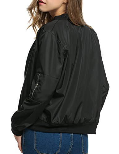 HOTOUCH Womens Classic Short Padded Bomber Jacket Coat Quilted Jacket Black XXL