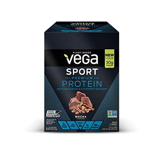 Vega Sport Protein Powder Mocha (12 Count, 1.5oz) - Plant-Based Vegan Protein Powder, BCAAs, Amino Acid, tart cherry, Non Dairy, Keto-Friendly, Gluten Free,  Non GMO (Packaging May Vary)