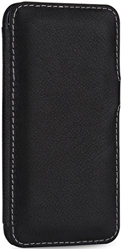 StilGut Book Type Case mit Clip, Hülle Leder-Tasche für iPhone 6s Plus. Seitlich klappbares Flip-Case aus Echtleder für das Original iPhone 6s Plus (5,5 Zoll), Schwarz Nappa