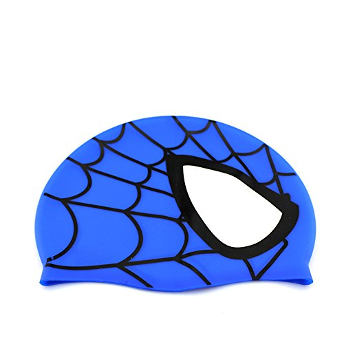 (Swimming Cap,Dream Wings Waterproof Silicone Unisex Swimming Hat Spider Pattern Long Hair Hat for Kids Children,Boys and Girls for Water Sports (Blue))