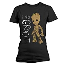 Women's Guardians Of The Galaxy I Am Groot Black T-shirt