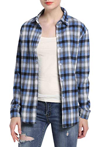 (GUANYY Women's Long Sleeve Casual Loose Classic Plaid Button Down Shirt(Blue,Large))