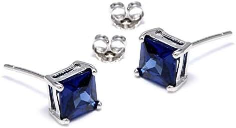 Sterling Silver Princess Cut Square Cubic Zirconia Stud Earrings (2 CT, London Blue Topaz)