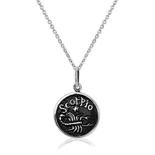 Silver Zodiac Sign Pendant - WithLoveSilver 925 Sterling Silver 12 Zodiac Sign Horoscope Pendant Necklace 18 inches (Scorpio (The Scorpion))