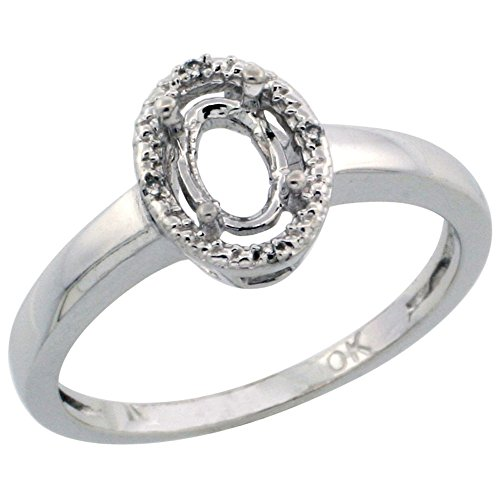 - 14K White Gold Semi-Mount Ring ( 6x4 mm ) Oval Stone & 0.01 ct Diamond Accent, size 10