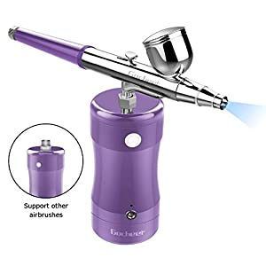 Gocheer Mini Airbrush Kit with Compressor USB Charging Single Action Cordless Airbrush Gun for Cake Decoration,Make Up,Nails Design,Tattoo,Model Painting