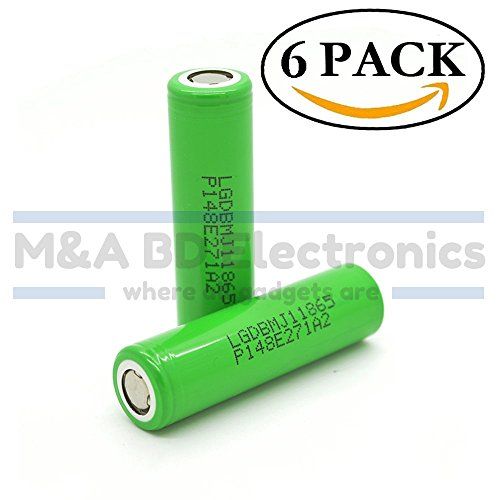 LG INR 18650 MJ1 High Drain 3.7V 10A 3500mAh Li-ion Rechargeable Flat Top Battery, (6 Pack) by M&A BD Electronics